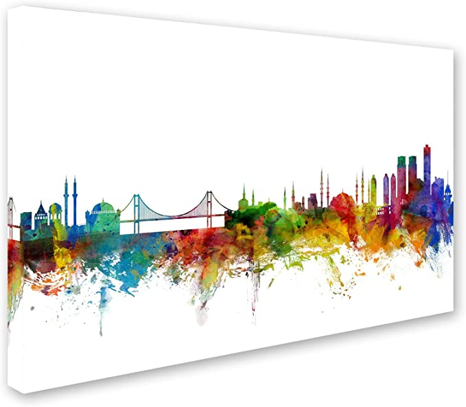 Istanbul Turkey Skyline By Michael Tompsett 22x32 Inch Canvas Wall Art Posters Prints Amazon Com