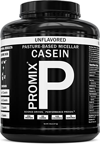 100 Casein Protein Powder I PROMIX Unflavored Micellar I USA Pastures I ONLY 1 Ingredient I Stimulate Muscle Growth Recovery Slow Release Amino I Preservative Free Keto Bulk 5LB