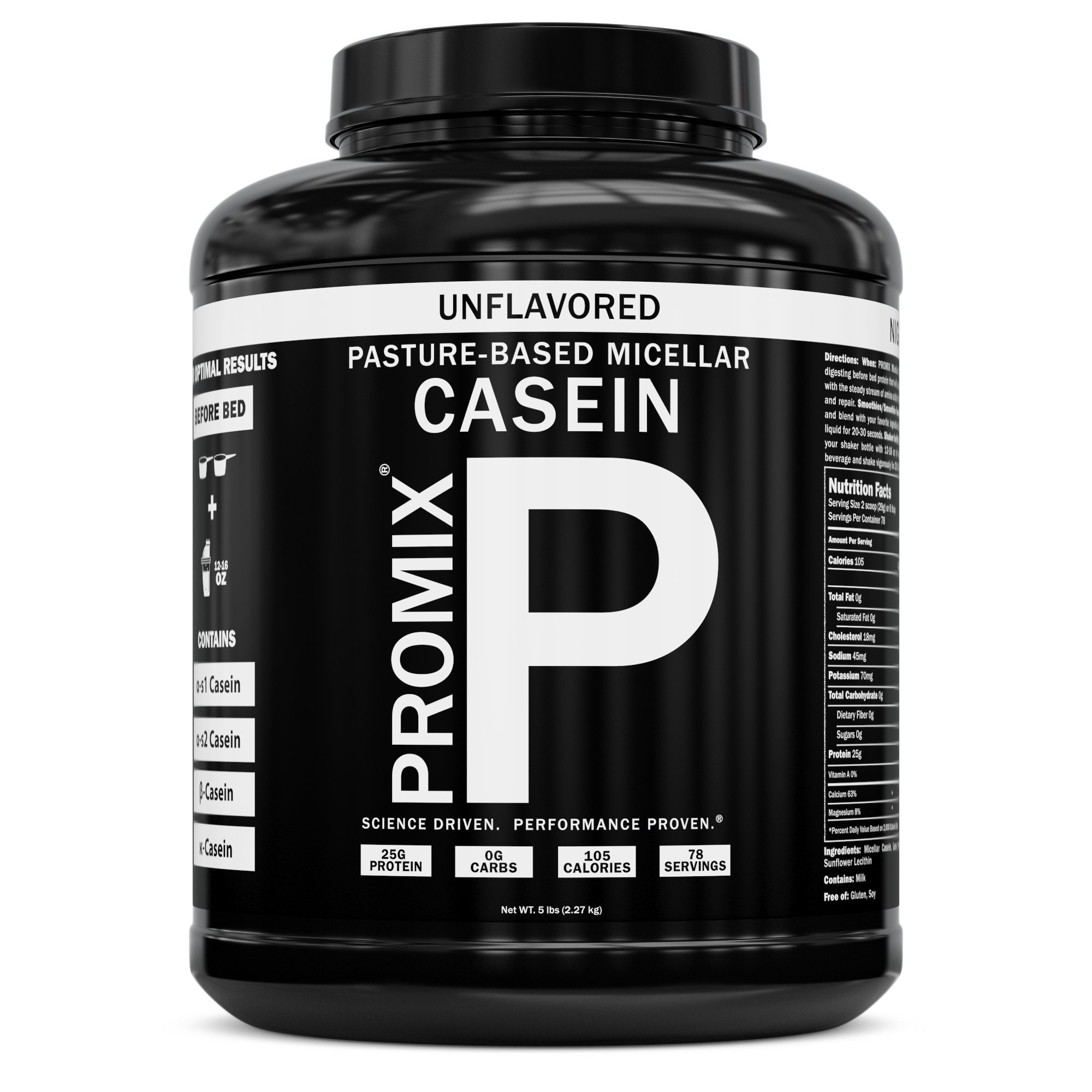 100% Casein Protein Powder I PROMIX Unflavored Micellar I USA Pastures I ONLY 1 Ingredient I Stimulate Muscle Growth & Recovery Slow Release Amino I Preservative Free Keto Bulk 5LB- No Soy, Gluten