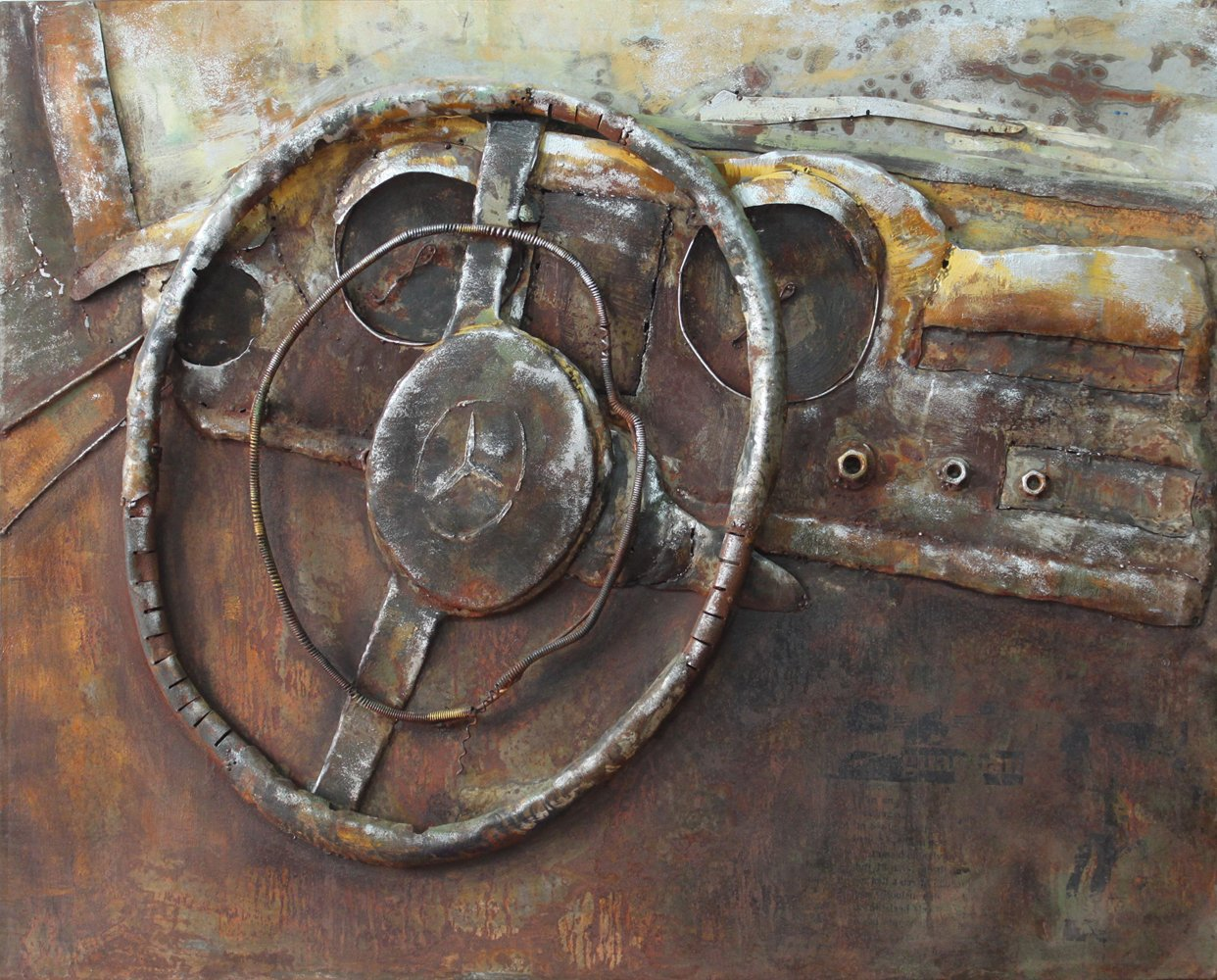 Empire Art Direct ''Benz'' Mixed Media Hand Painted Iron Wall Sculpture by Primo by Empire Art Direct
