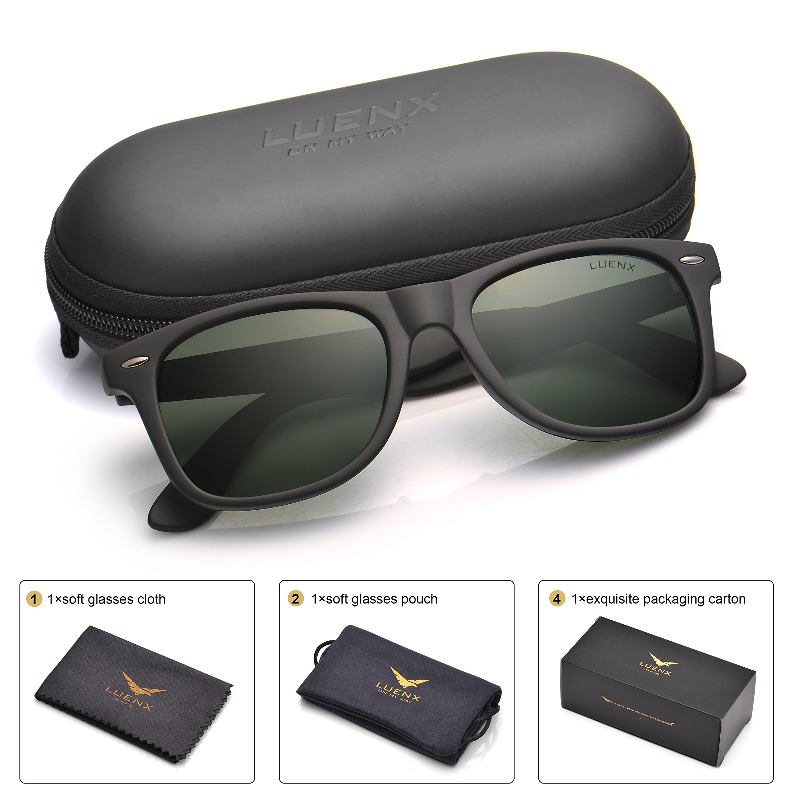 LUENX Mens Wayfarer Polarized Sunglasses for Womens UV 400 Protection Grey Green Lens Matte Black Frame 54MM
