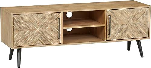 Amazon Brand Rivet Fulton Rustic Media Cabinet, 63 W, Natural Acacia Accents