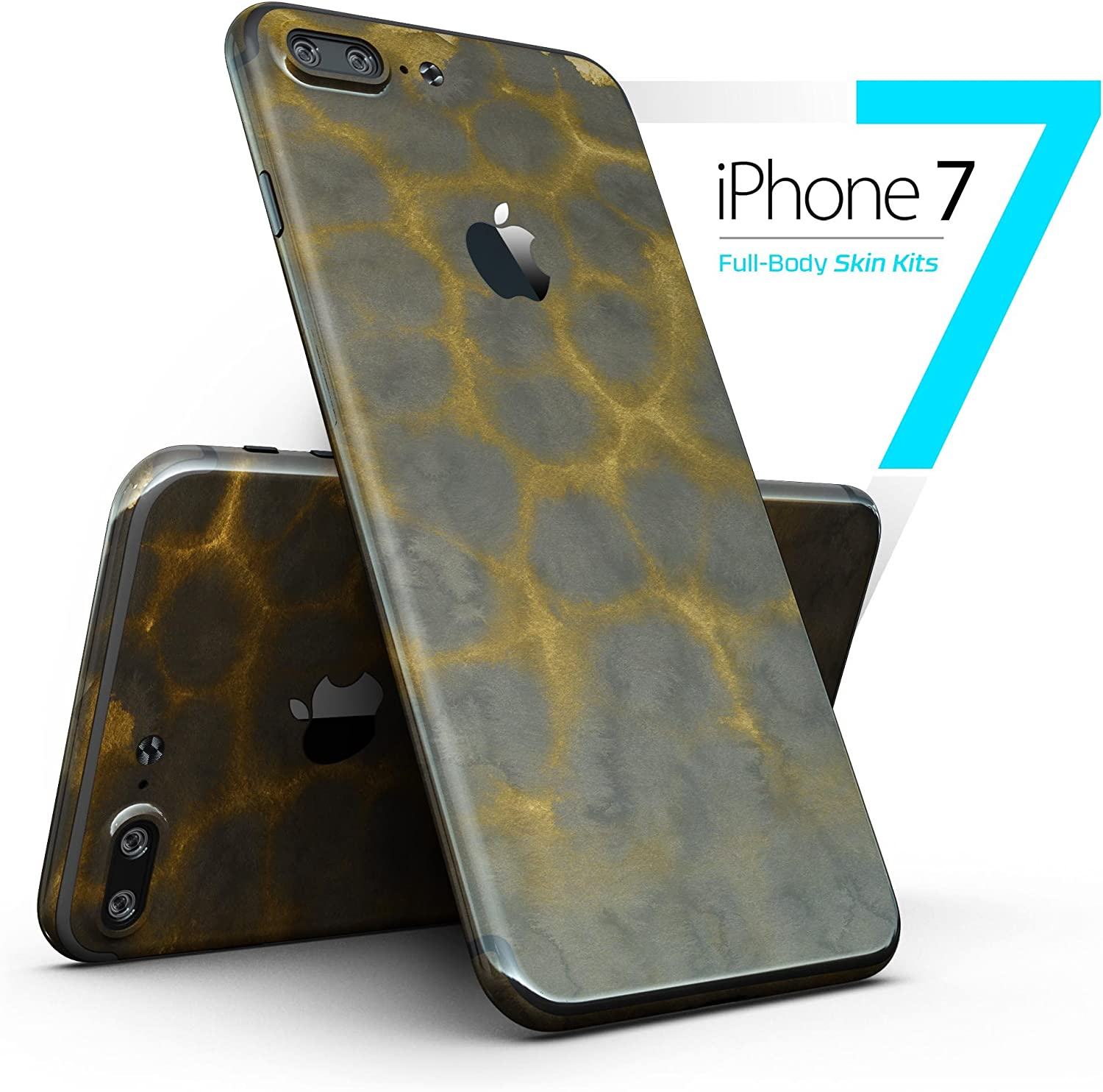 Dark Gray and Golden Honeycomb - Full-Body iPhone 7 Plus DesignSkinz // Slim / Ultra-Thin / Matte Finished / Protective Skin Wrap