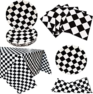Black and White Checkered Racecar Themed Birthday Party Paper Dinner Plates and Luncheon Napkins and Tablecloth Children's Birthday Party Decorations for Boys Girls (Serves 20)