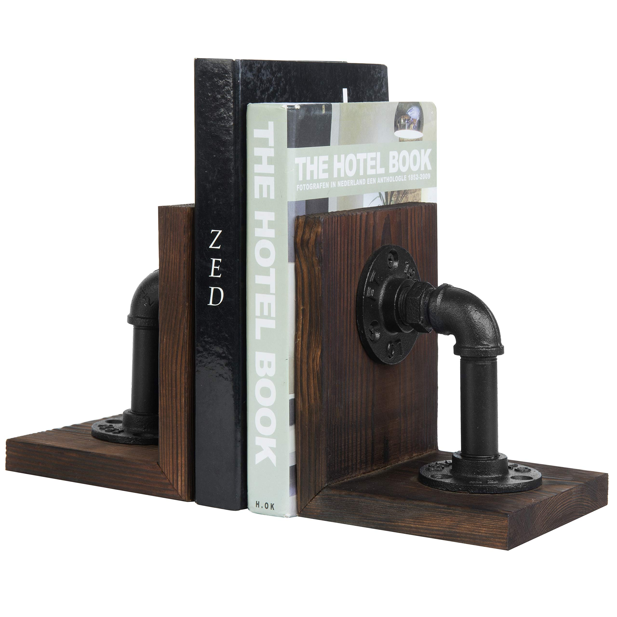 MyGift Dark Brown Industrial Pipe & Rustic Wood Bookends, Set of 2 by MyGift