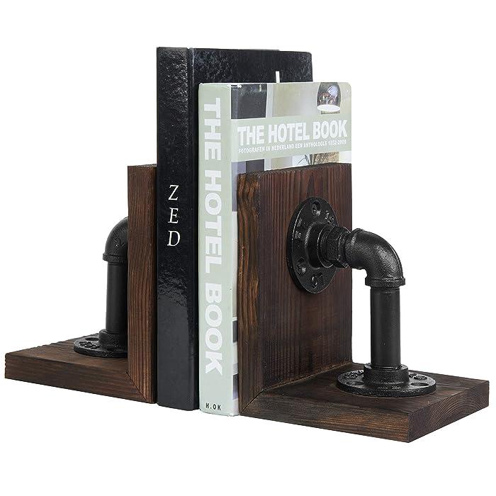 MyGift Dark Brown Industrial Pipe & Rustic Wood Bookends, Set of 2