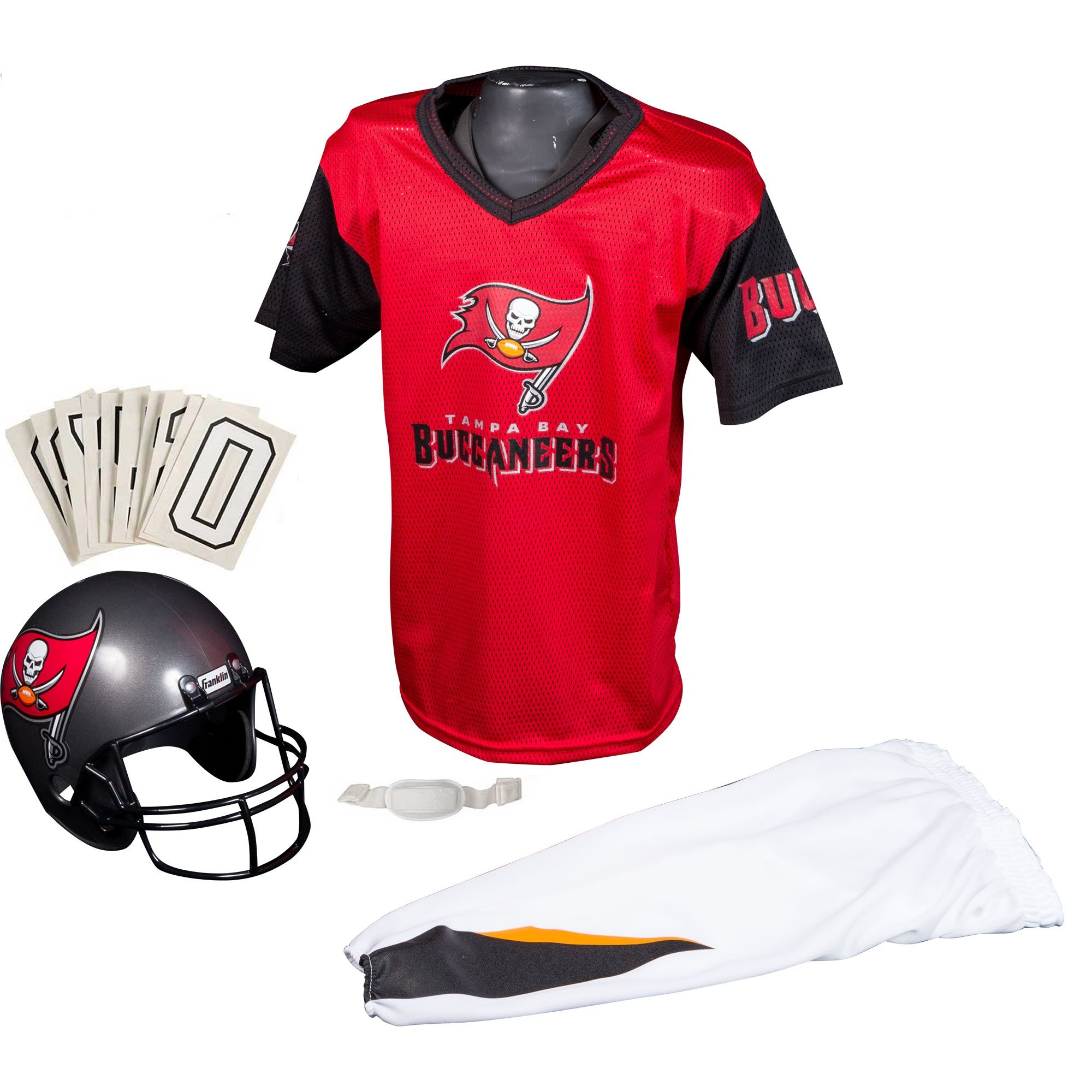 c9c68e48 Franklin Sports Deluxe NFL-Style Youth Uniform – NFL Kids Helmet, Jersey,  Pants, Chinstrap and Iron on Numbers Included – Football Costume for ...