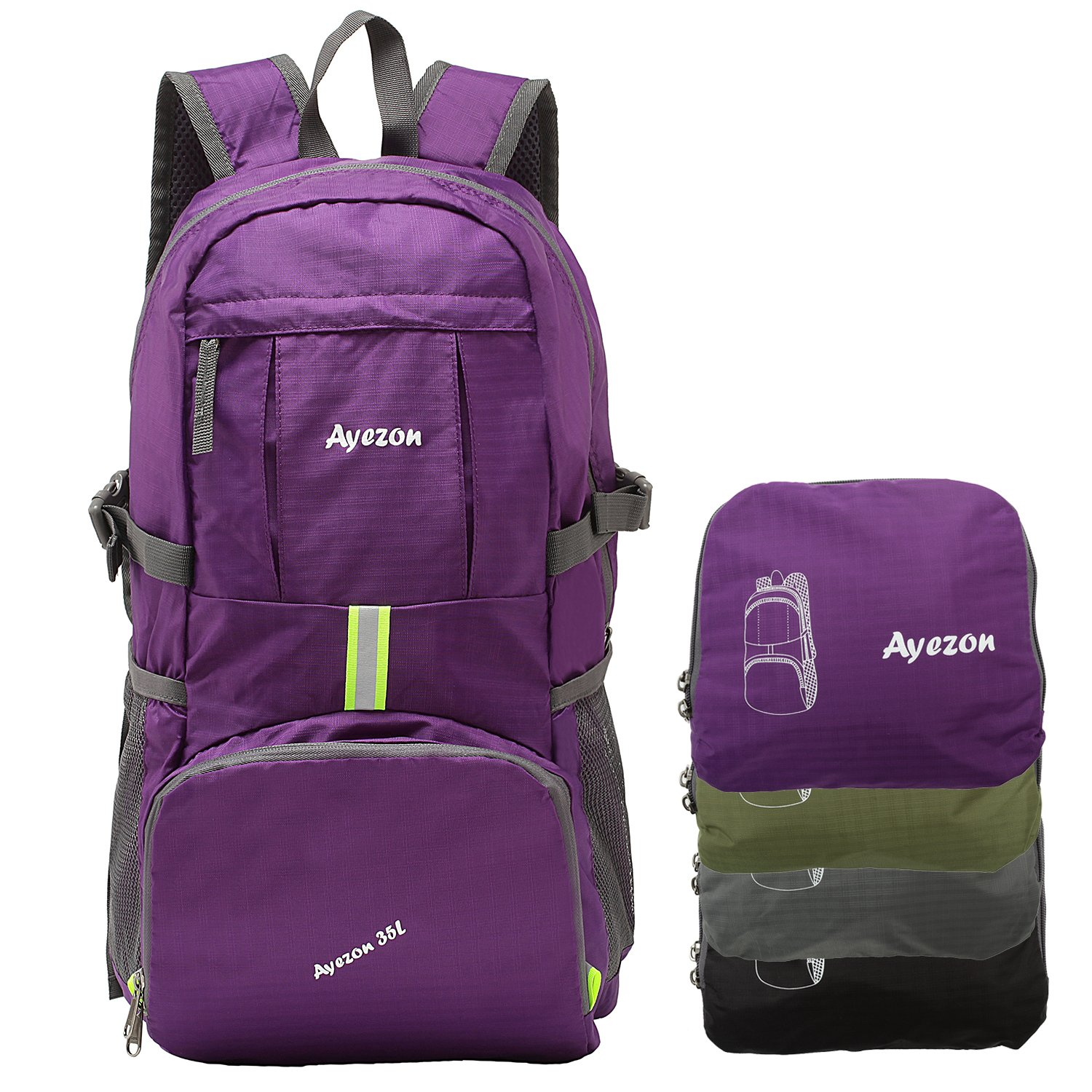 Ayezon Durable Water-resistant Packable Camping & Hiking Backpack Ultra-Light for Shopping 35L Purple