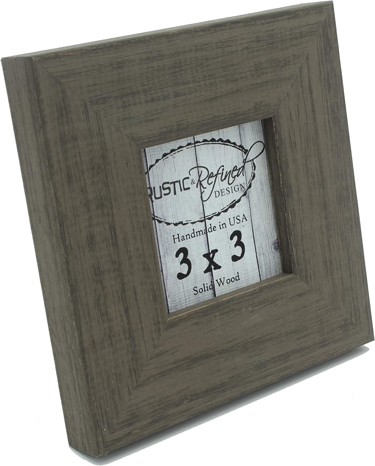 Rustic and Refined Design Country Colors Picture Frame - Solid Wood - Hand Made in USA (Whiskey Brown, 3x3)