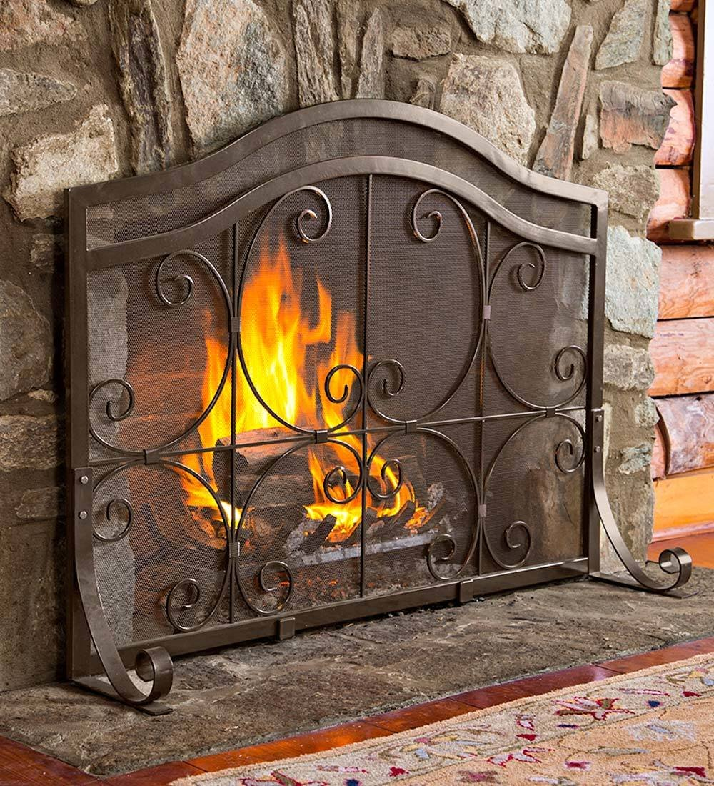 amazon com small crest flat guard fireplace screen solid wrought