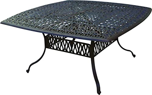 Darlee Elisabeth Cast Aluminum Square Dining Table, 64 , Antique Bronze Finish