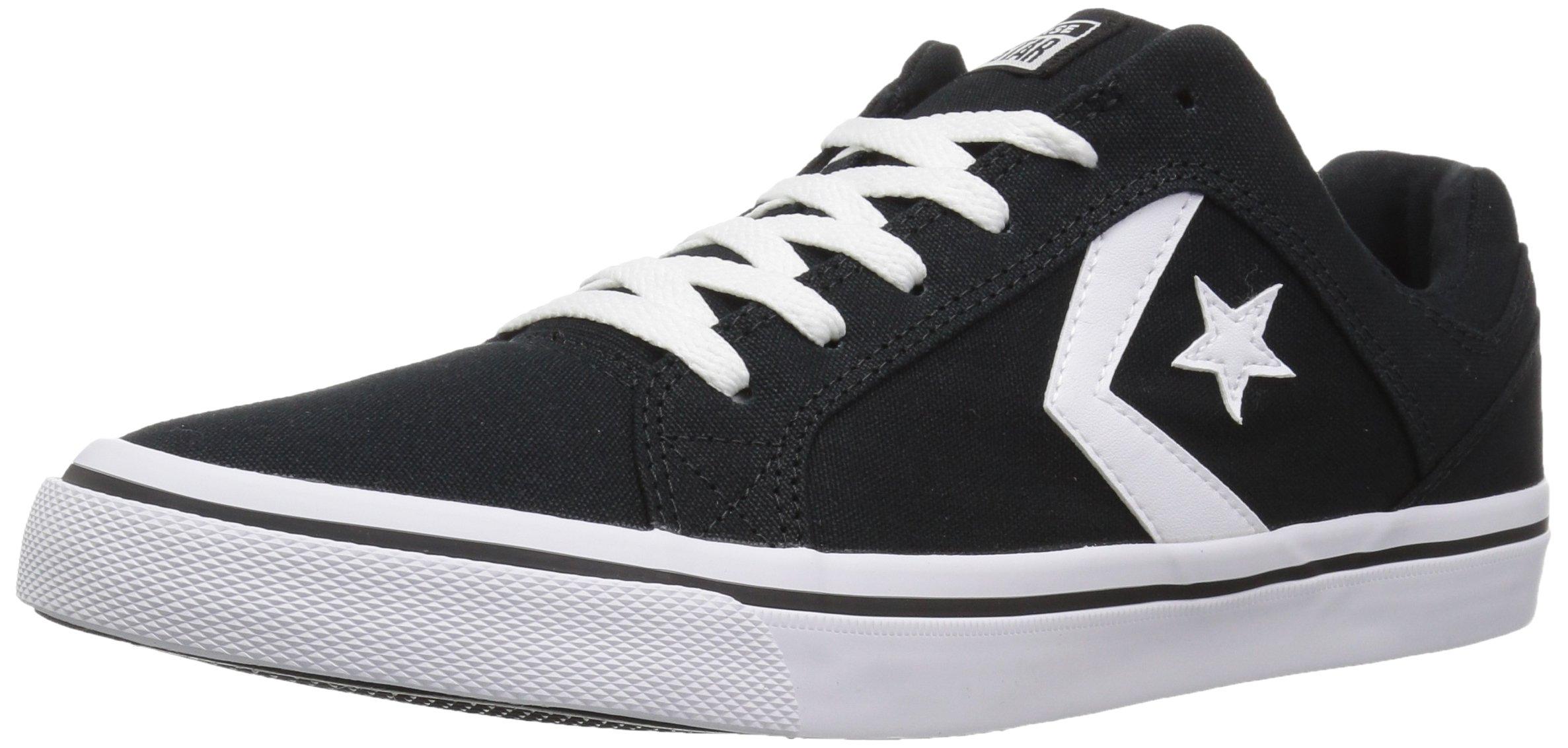 Converse EL Distrito Canvas Low Top Sneaker, Black/White/Black, 7 M US