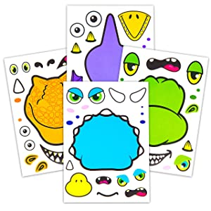 24 Make A Dinosaur Stickers For Kids - Great Dino Theme Birthday Party Favors - Fun Craft Project For Children 3+ - Let Your Kids Get Creative & Design Their Favorite Dinosaur Sticker