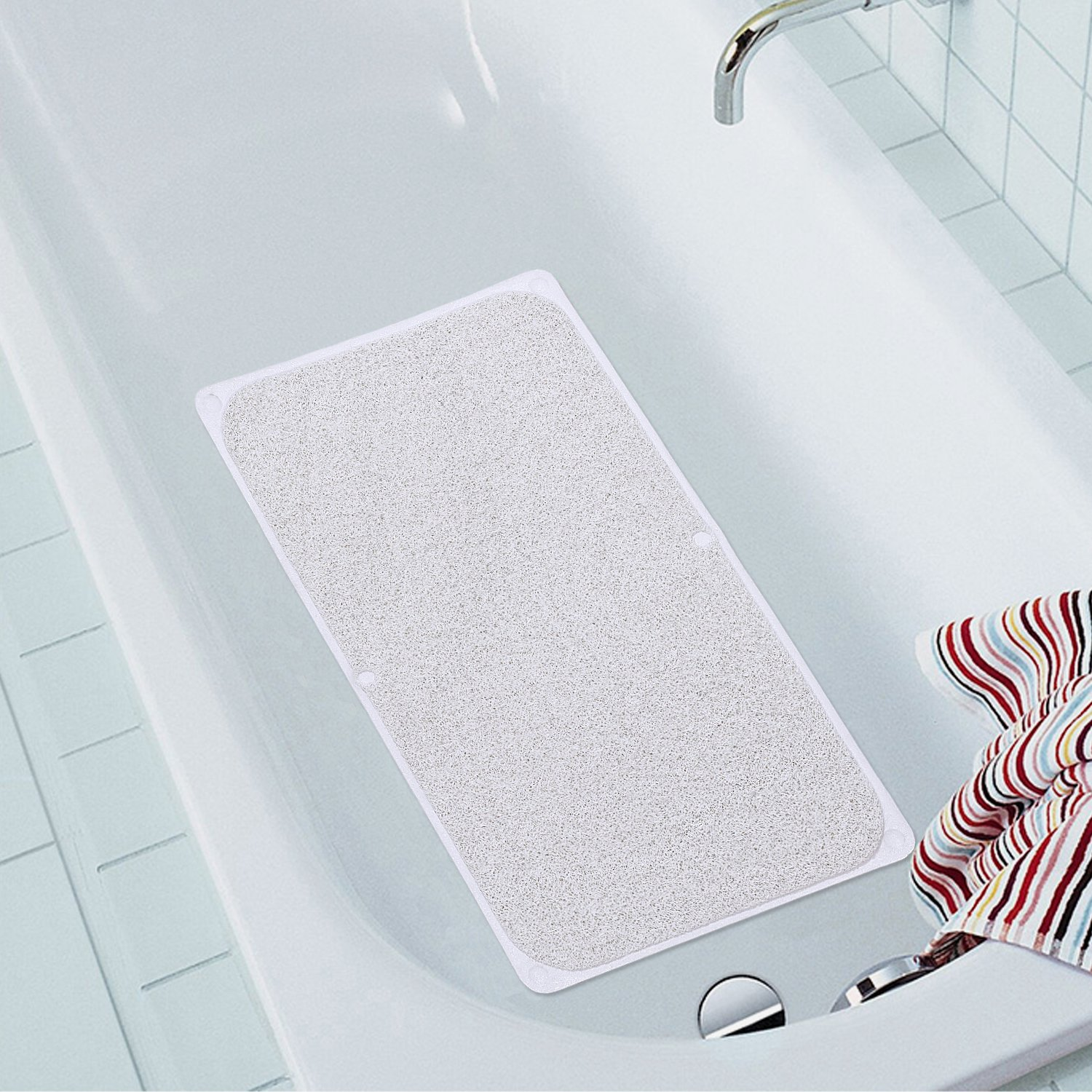 Flamingo P Slip-Resistant Shower Mat with Super Suction Cups for Shower or Bathroom - Great for The Elderly and Children,17 x 29 inh, White, One Pack