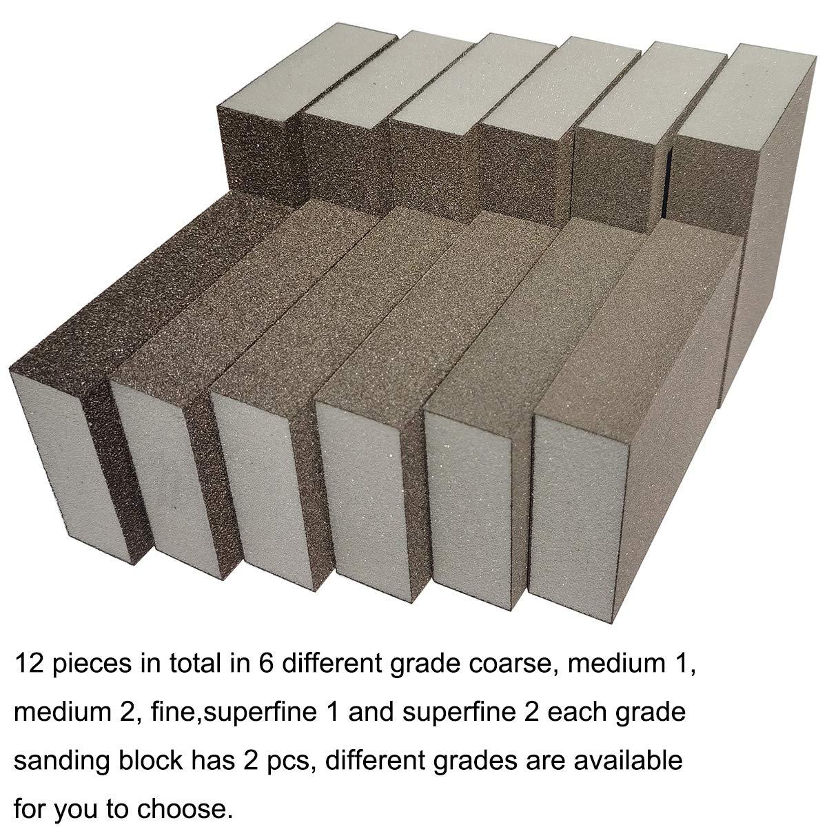 12 Pack Sanding Sponge Sackorange Coarse Washable Reusable 6 Different Blocks
