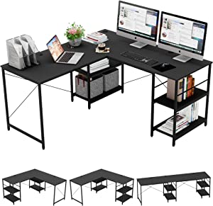 Bestier L Shaped Desk with Shelves 95.2 Inch Reversible Corner Computer Desk or 2 Person Long Table for Home Office Large Gaming Writing Storage Workstation P2 Board with 3 Cable Holes, Black