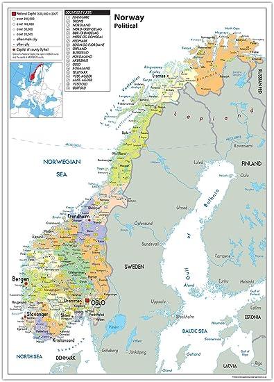 Norvegia Cartina Stradale.Mappa Politica Della Norvegia Carta Laminata Ga A2 Clear Amazon It Cancelleria E Prodotti Per Ufficio