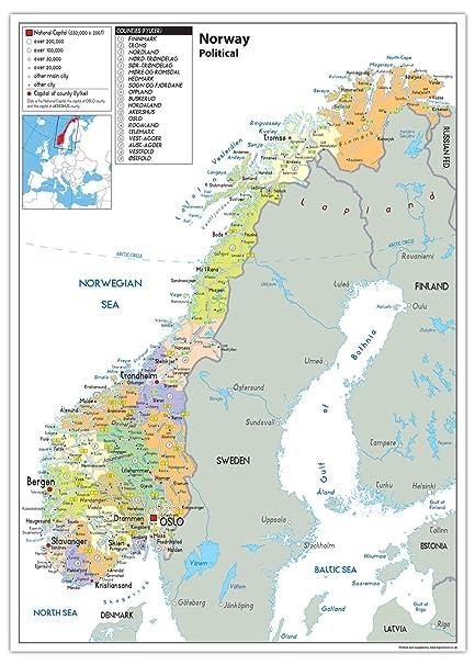 Cartina Della Norvegia.Mappa Politica Della Norvegia Carta Laminata Ga A2 Clear
