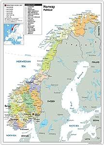 Noruega Mapa Político – Papel laminado [ga], color