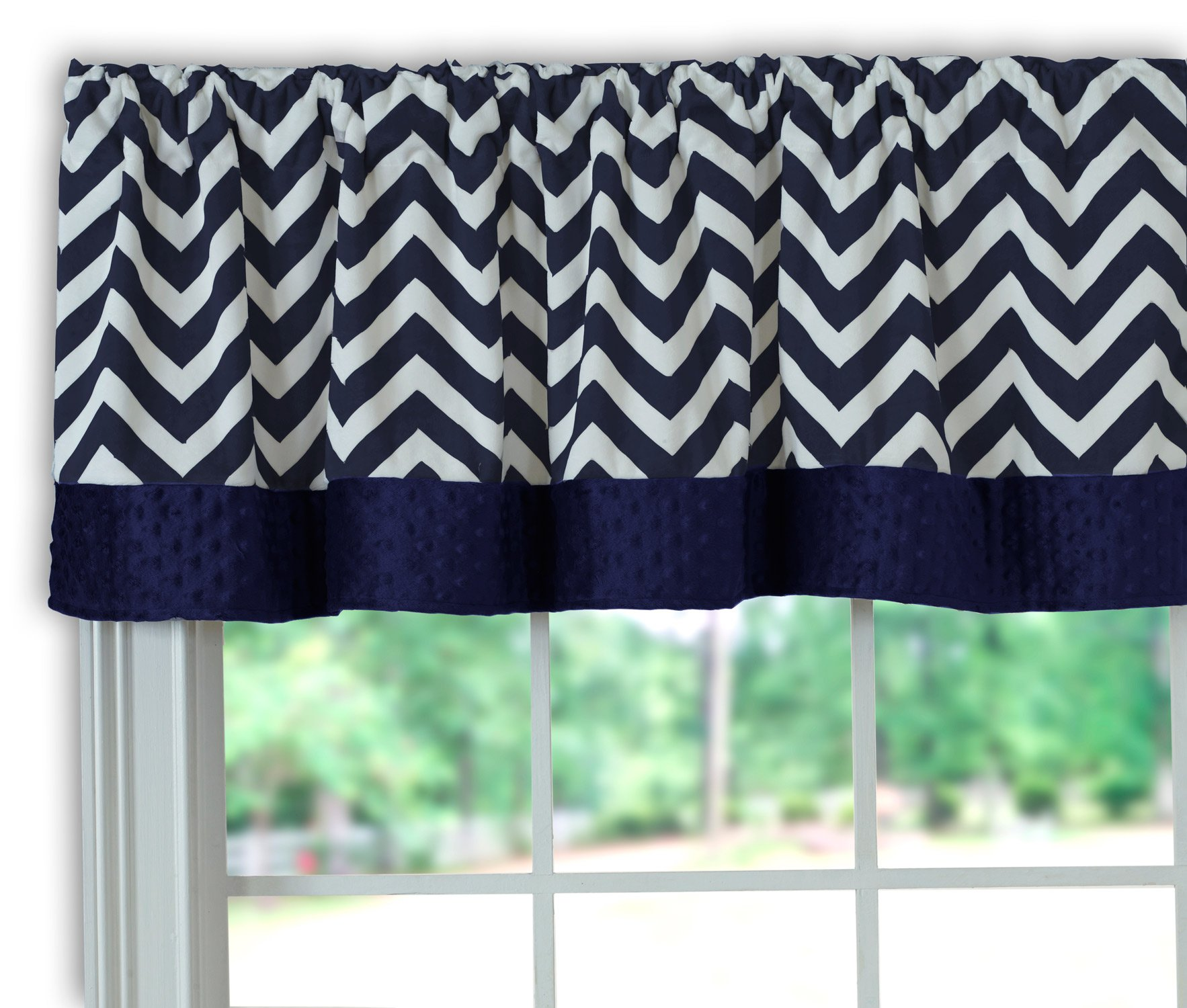Baby Doll Bedding Minky Chevron Window Valance, Navy by BabyDoll Bedding