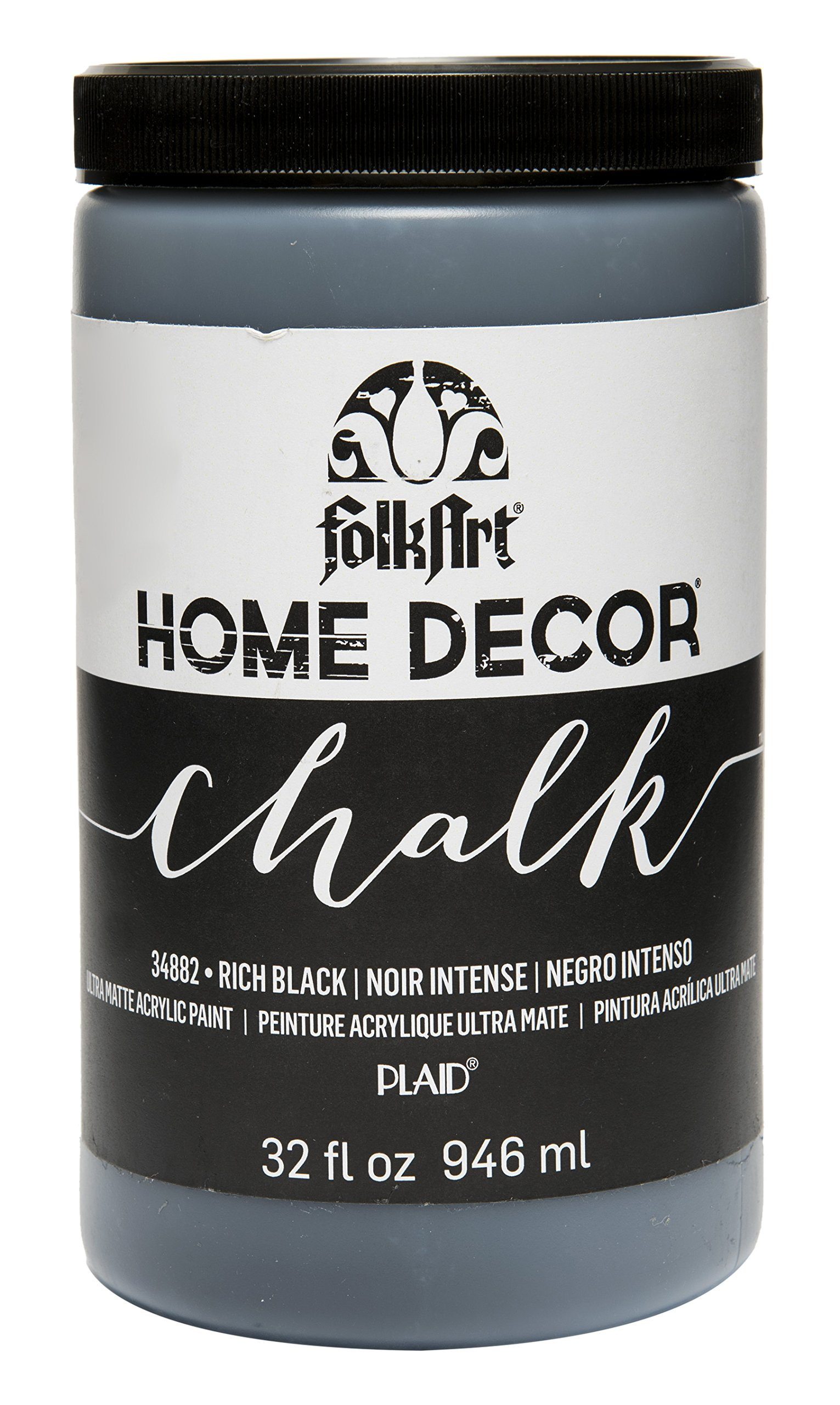 FolkArt Home Decor Chalk Furniture & Craft Paint in Assorted Colors (32 oz), 34882 Rich black