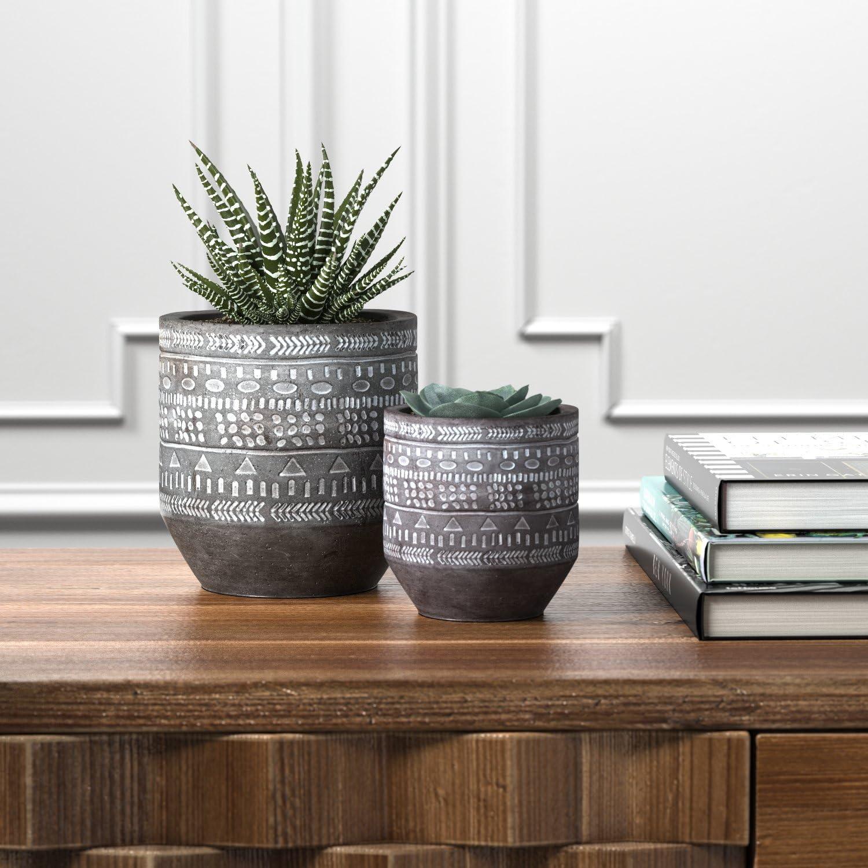Rivet Moderner Beton-Pflanztopf mit gemalten Akzenten Grau und Wei/ß 12,7 cm f/ür den Innen- und Au/ßenbereich