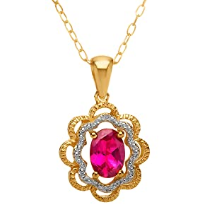 1 ct Ruby Pendant Necklace with Diamonds in 14K Gold-Plated Sterling Silver