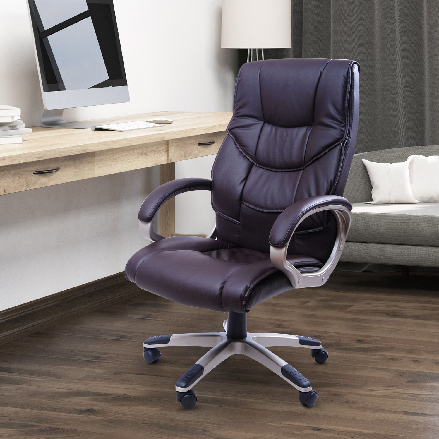 Homcom Computer Office Swivel Chair Desk Chair High Back PU Leather Adjustable Sold By MHSTAR 5550-3301