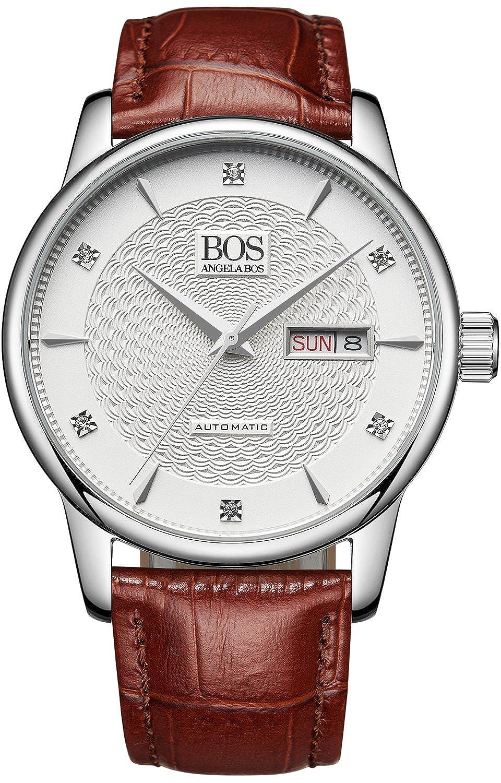 BOS Herren Automatische selbst wind Mechanische weißes Zifferblatt Edelstahl Wasserdicht Armbanduhr Braun Leder