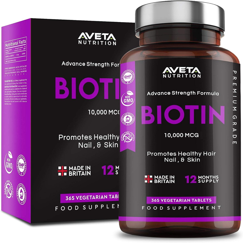 Suplemento para el crecimiento del cabello con biotina, de alta resistencia, 10.000 mcg, 365 tabletas, soporta cabello, uñas y piel, fabricado en Reino Unido y vegano