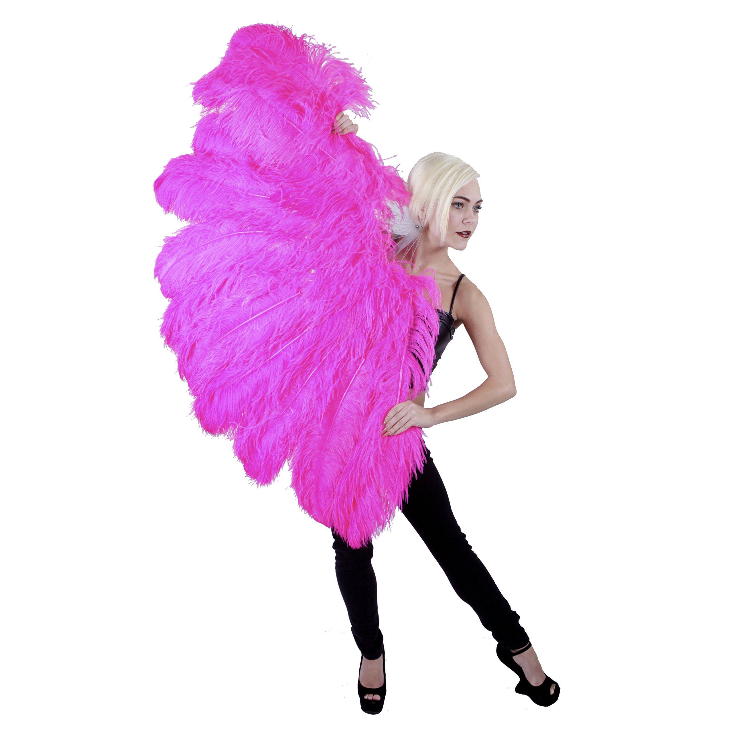 Feather Fan w/Ostrich Femina - Shocking Pink by Zucker Feather (TM)