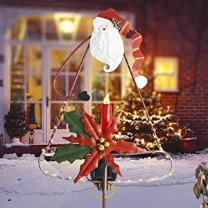 FUNPENY Solar LED Christmas Outdoor Decoration, Waterproof Santa Claus Signs Garden Stake Candle Xmas Pathway Lights, Metal Ornament Patio Lawn Yard Home Christmas Holiday Decor (42 inch)