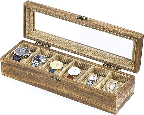 SRIWATANA - Caja para 6 relojes (madera, con ventana de cristal), diseño vintage marrón: Amazon.es: Bricolaje y herramientas