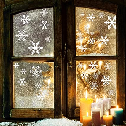 Amazoncom Piece Snowflake Window Clings SelfStatic Non - Snowflake window stickers amazon