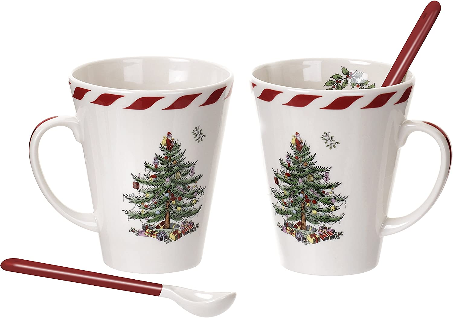 Spode Christmas Tree Peppermint Mugs with Spoons  Set of 2