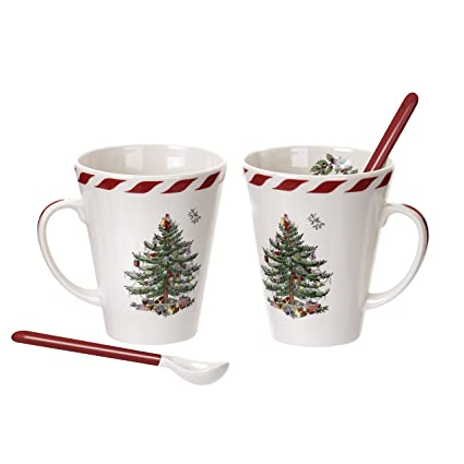spode christmas tree peppermint mugs with spoons set of 2 - Cheap Christmas Mugs