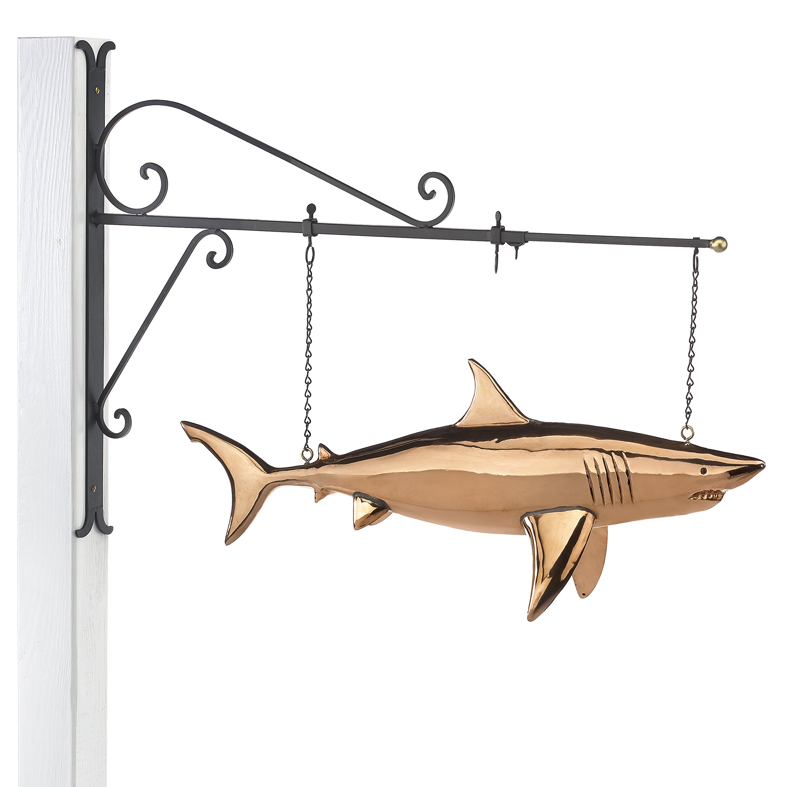 Good Directions Hanging Shark Pure Copper Weathervane Sign with Decorative Scroll Wall Bracket - Welcome Sign, Home / Entrance / Entryway Décor