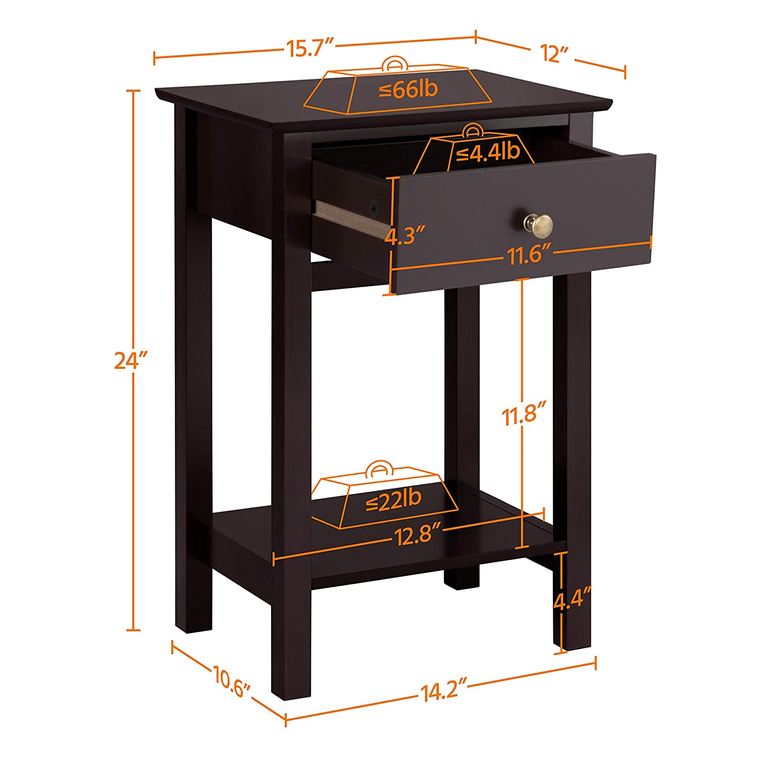 Yaheetech Nightstands Bedside Table Cabinet with Drawer Storage Shelf for Bedroom Set of 2 Espresso