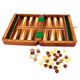 Backgammon Travel Set Wooden Board Hand Carved Game Vintage Folding Urban Home