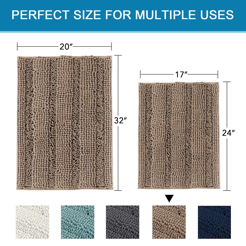 17/×24 inches, Gray H.VERSAILTEX Striped Chenille Bath Mats for Bathroom Rugs Non Slip Machine Washable Soft Microfiber 2 Pack