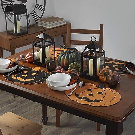 Natural Elrene Home Fashions Farmhouse Living Fall Hello Pumpkin Burlap Placemat 13 x 19 Set of 4