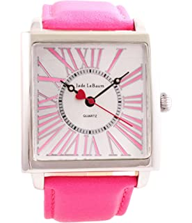 Womens Wrist Watch Square Face Pink Leather Band Reloj de Mujer Jade LeBaum - JB202871G