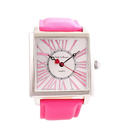 Amazon.com: Womens Wrist Watch Square Face Pink Leather Band Reloj de Mujer Jade LeBaum - JB202871G: Jade LeBaum: Watches