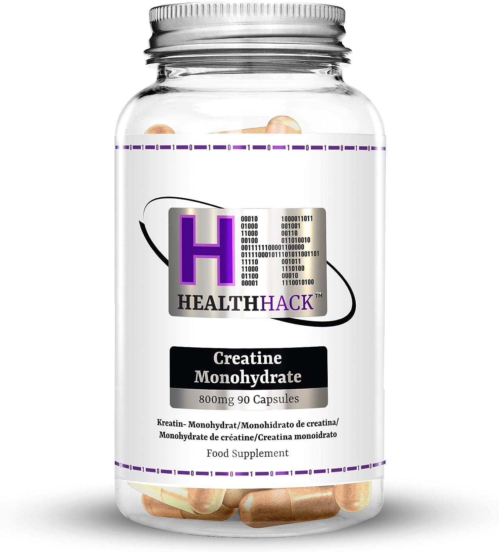 Health Hack - Monohidrato de creatina, 800 mg, 90 cápsulas