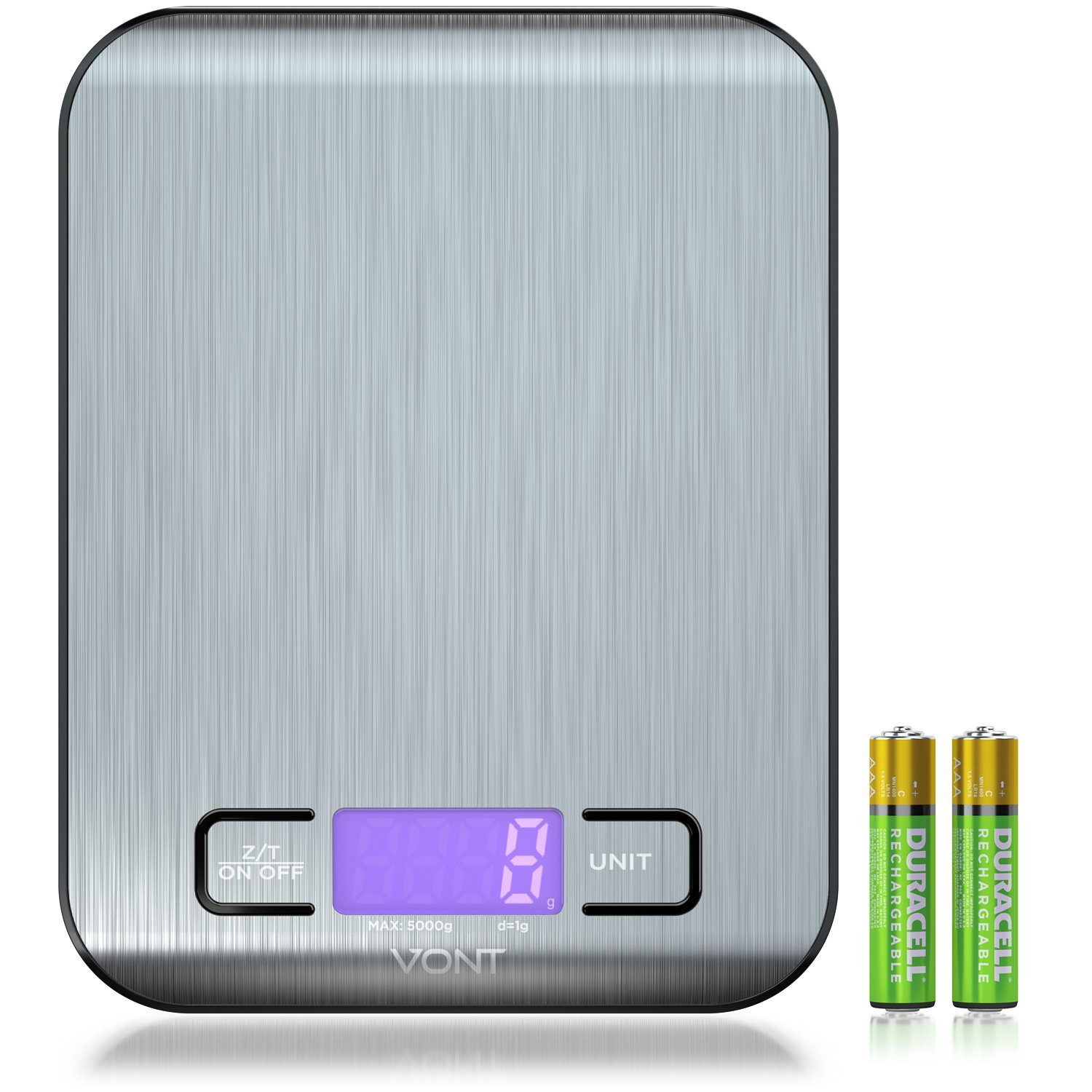 Digital Kitchen Scale, Food Scale, Gorgeous Slim Compact Design, Multifunctional, Easy to Clean Stainless Steel, Batteries Included