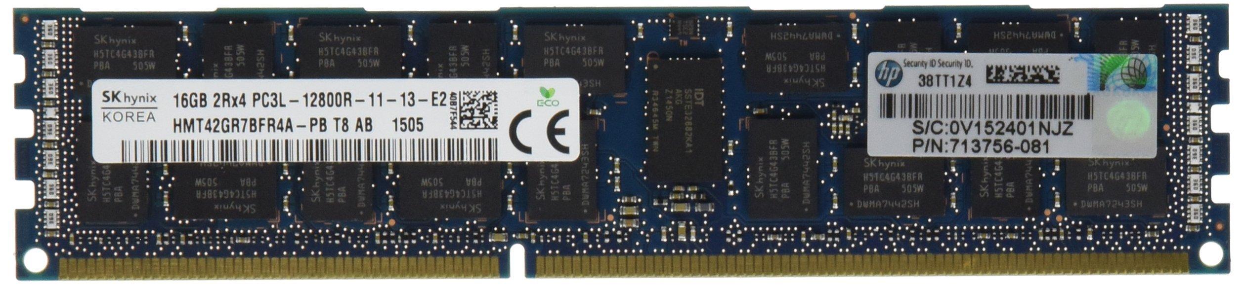 HP 16GB (1X16GB) 2RX4 PC3L-12800R DDR3-1600-MHZ MEMORY KIT Server Memory 713985-B21 (Certified Refurbished)