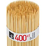 DecorRack Natural Bamboo Skewer Sticks, 400 Pack of 12 inch Natural Wood Barbecue Kabob Skewers, Best for Grill, BBQ, Kebab,