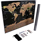 "Scratch Off Map of the World Wall Poster – Premium Quality Large Size 32.5"" X 23.4"" Travel Tracker Map with Country Flags and US States, Detailed Cartography, Scratch Off Tools Included, Perfect Gift"