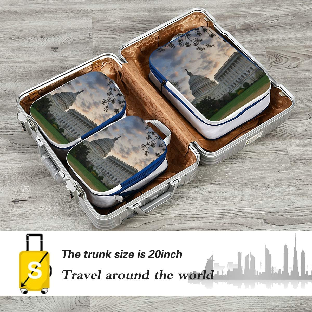 d Capitol Hill Building Washington DC 3 Set Packing Cubes,2 Various Sizes Travel Luggage Packing Organizers