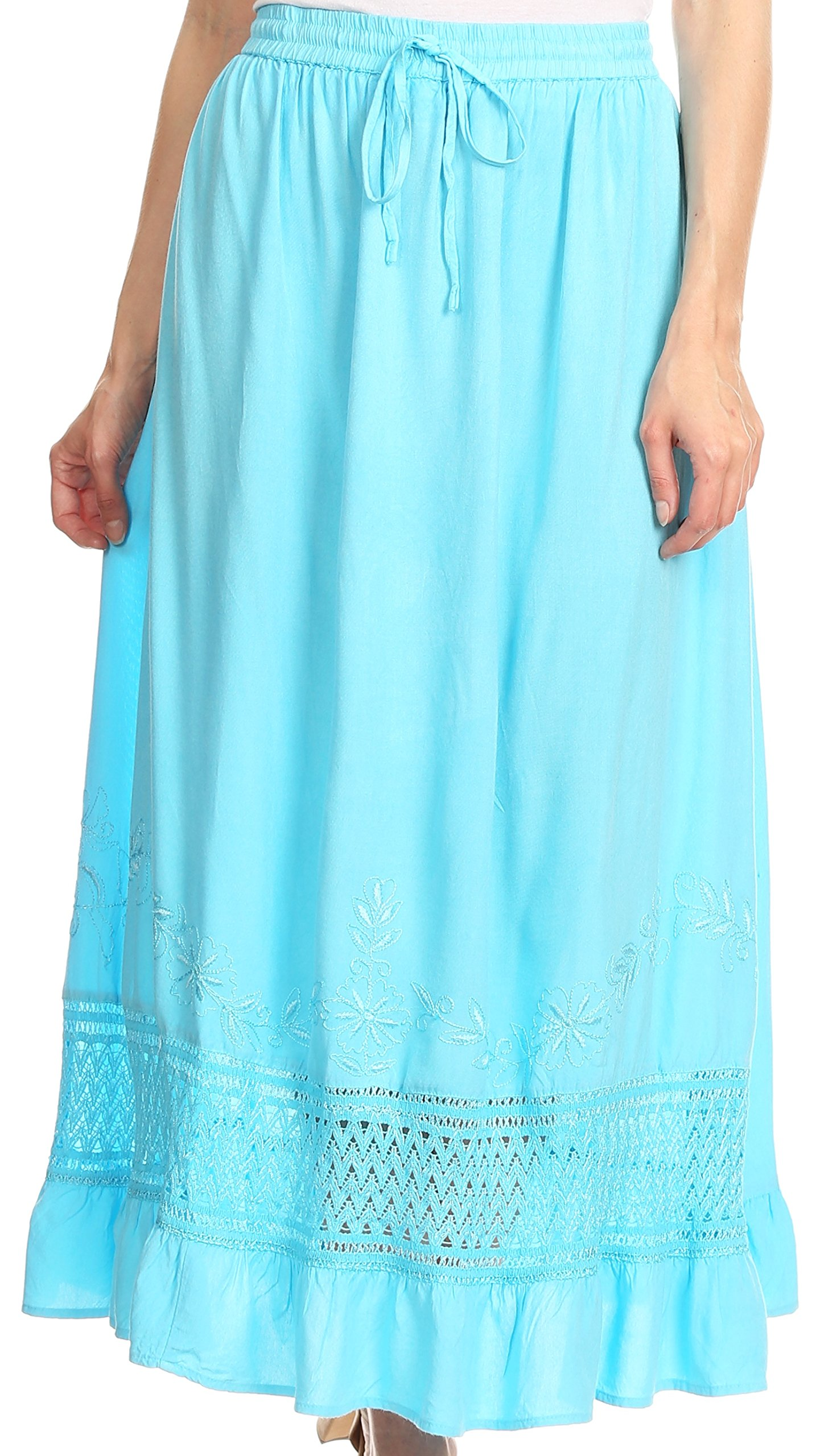 Sakkas 80211 - Harley Bohemian Embroidered Ethnic Maxi Skirt Adjustable Waist Ruffle Trim - Light Blue - OS